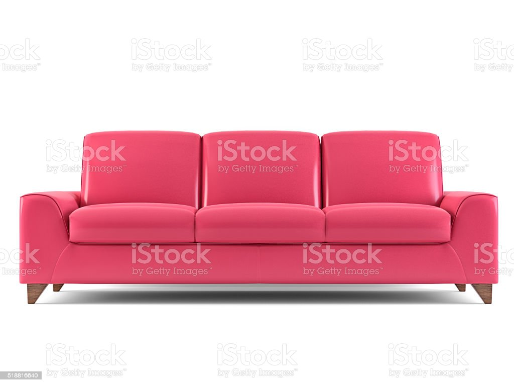 Red sofa isolated on white stock photo