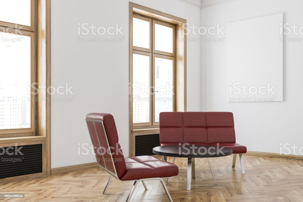 Red sofa waiting area, poster royalty-free stock photo