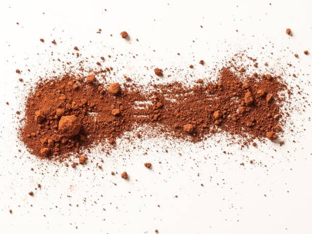 Red Soil isolated on White Background. Pile of Dirt and Stones. stock photo