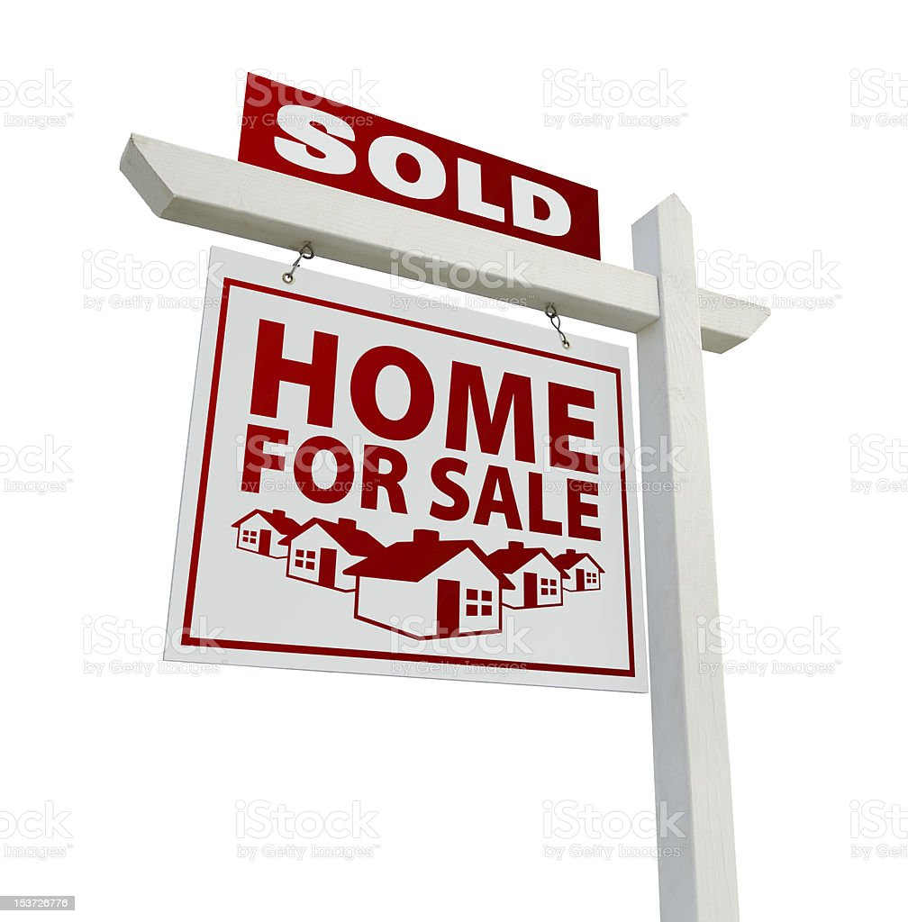 Red Sold Home for Sale Real Estate Sign royalty-free stock photo