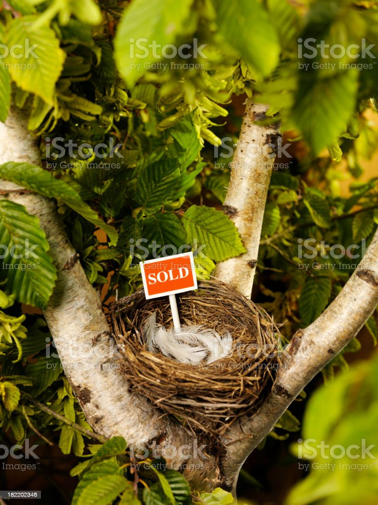 Red Sold Sign in a Bird's Nest royalty-free stock photo