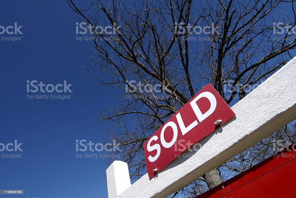 Red sold sign with tree in the background stock photo