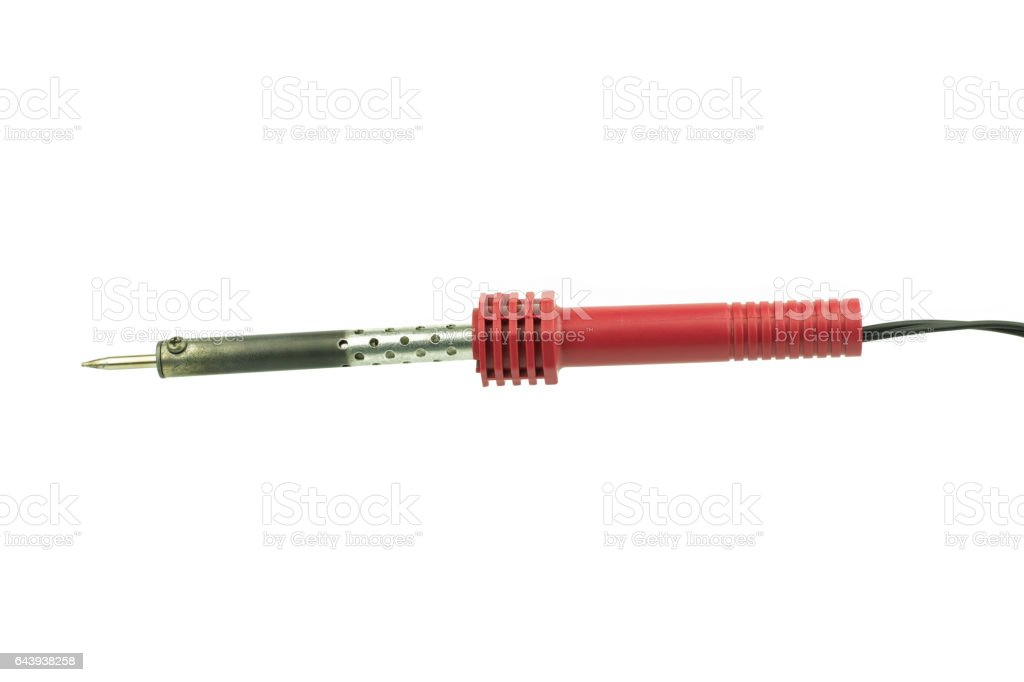 Red soldering iron isolated on white background stock photo