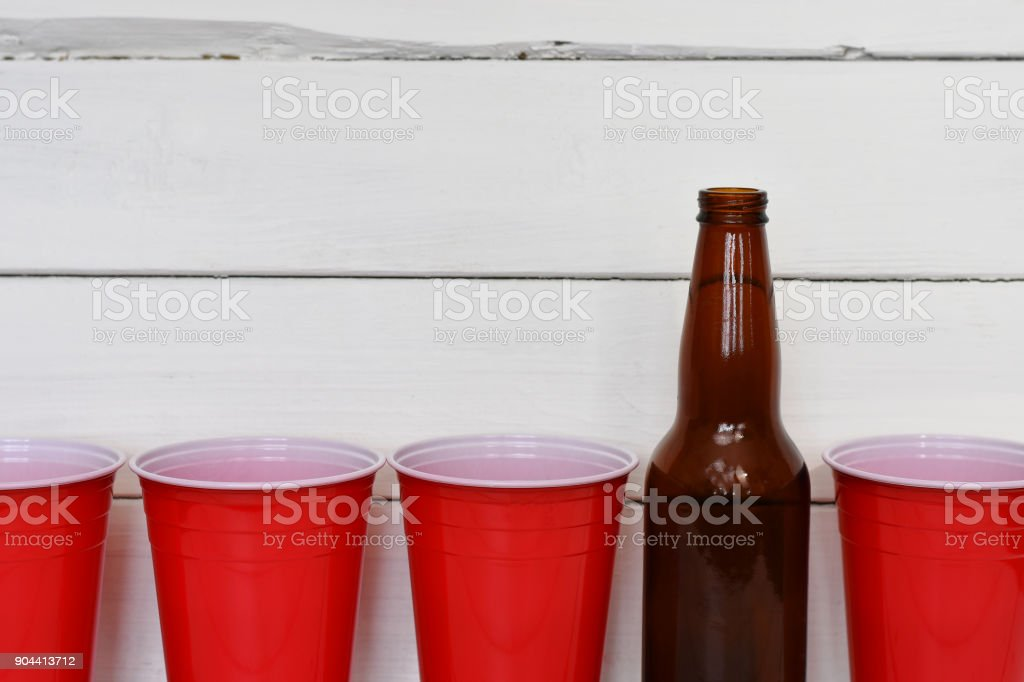 Red Solo Cups and Beer Bottles stock photo