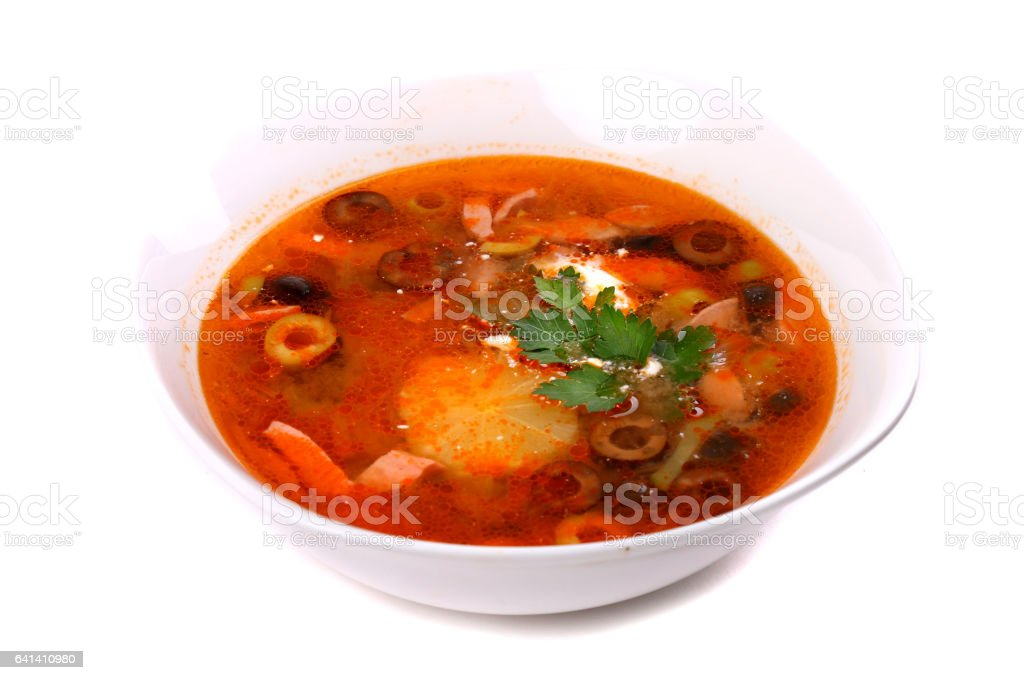 Red solyanka soup stock photo