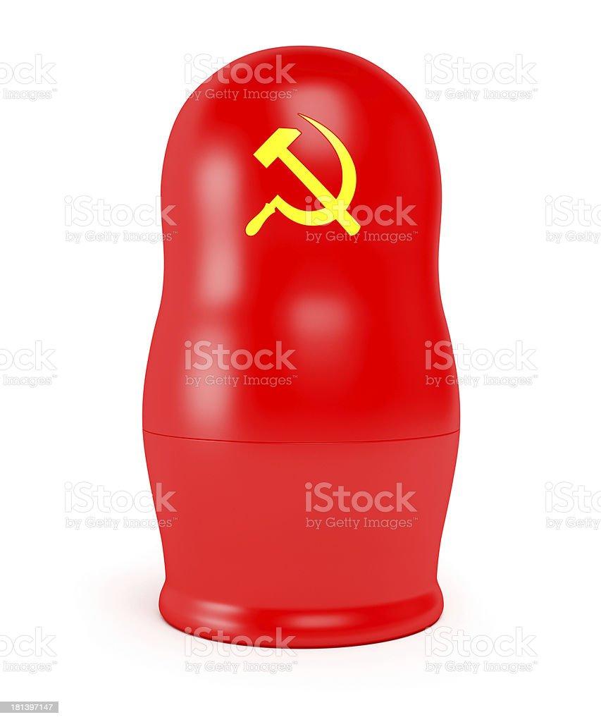 Red Soviet matryoshka royalty-free stock photo
