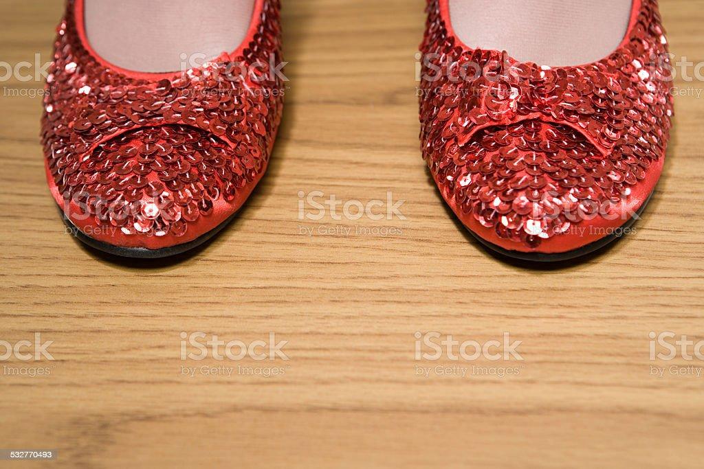 Rote glitzernde Schuh – Foto