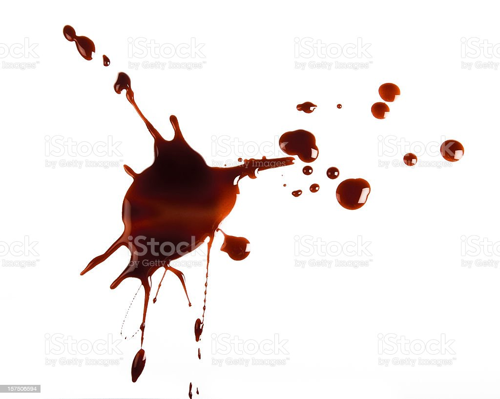 Red spatter on white background foto