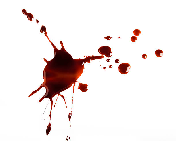 Red spatter on white background stock photo