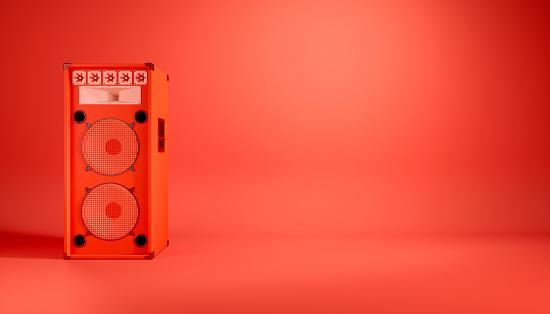 red speaker system on red background, 3d illustration