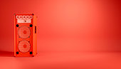 istock red speaker system on red background 1214472158
