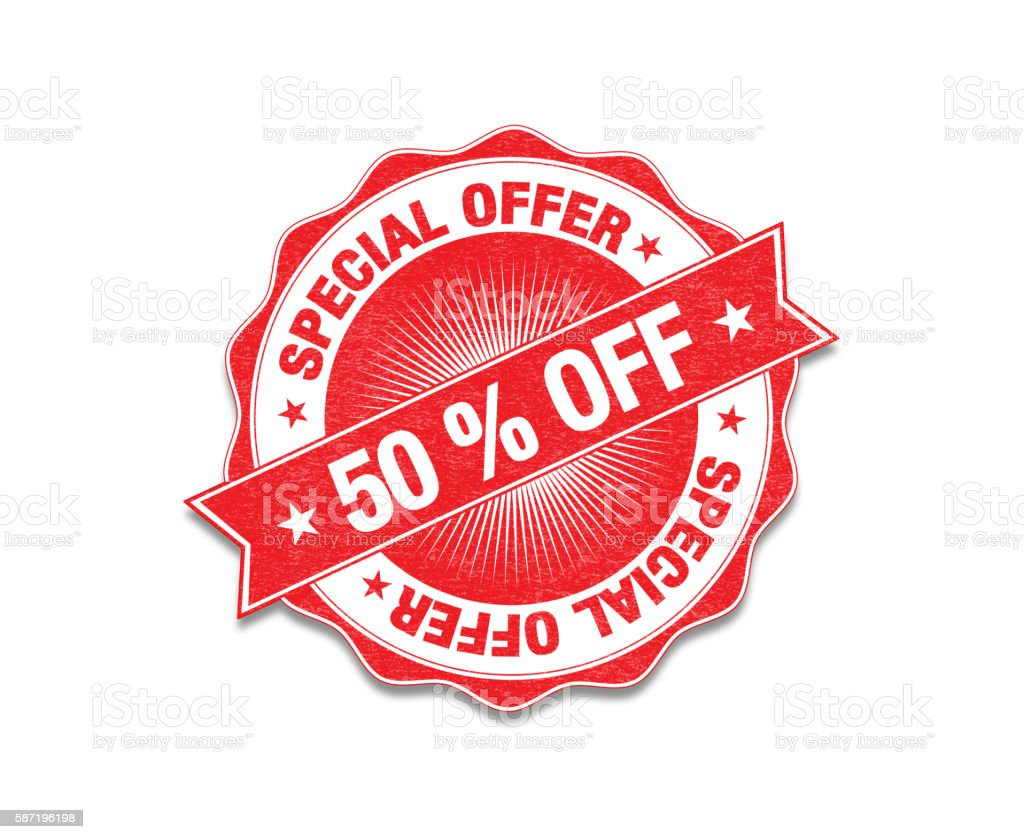 Red 'Special Offer : %50 off' Stamp On White stock photo