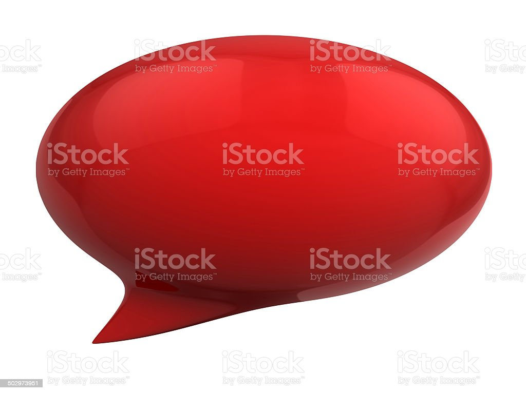 red speech bubble 3d illustration stock photo