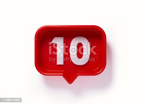 Red speech bubble with white number ten on white background. Horizontal composition with copy space. Clipping path is included.