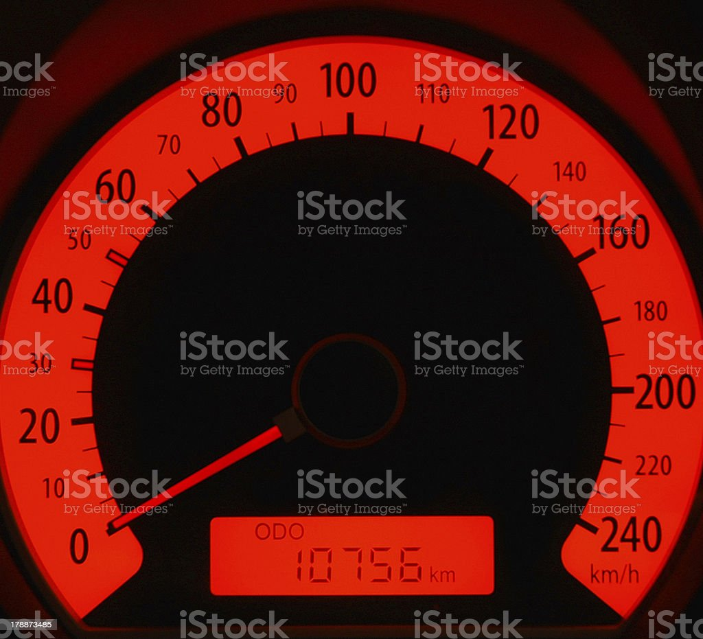 Red speedometer royalty-free stock photo