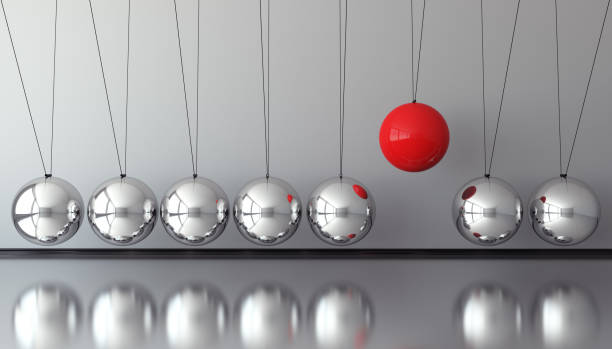 red sphere standing out from the crowd - balance graphics foto e immagini stock