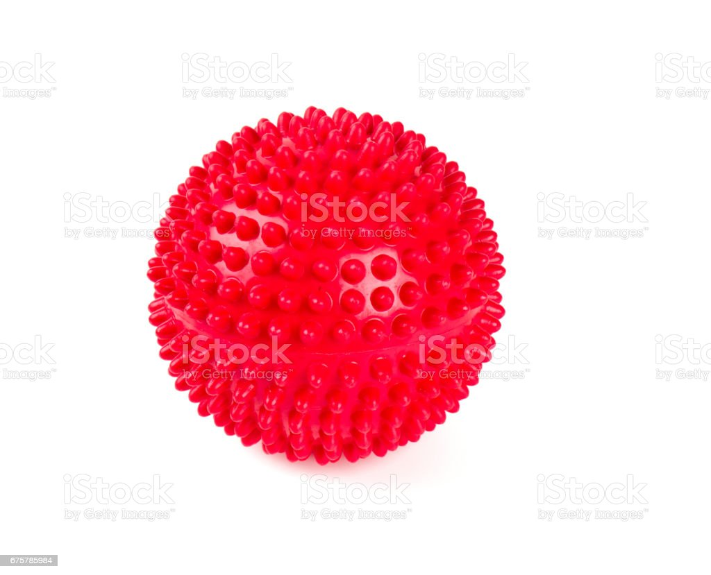red spiky ball stock photo