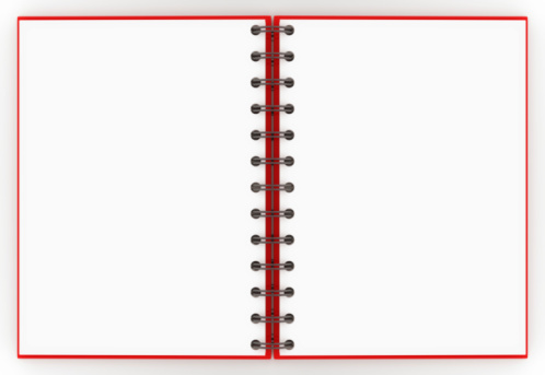 A Red Spiral Notebook Opened Up To A Blank Nonlined Pages ...