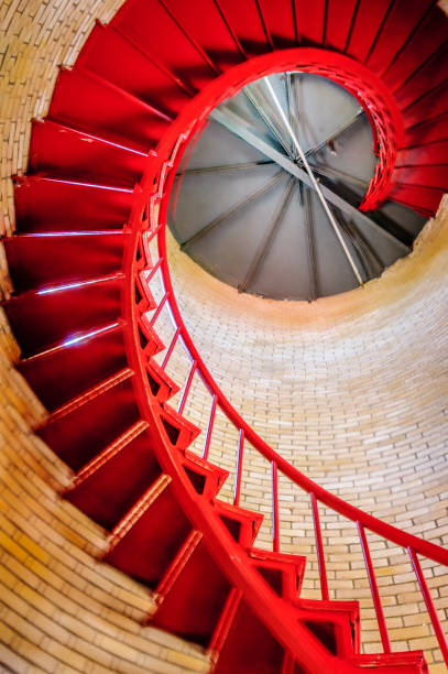 Red Spiral Stairs stock photo