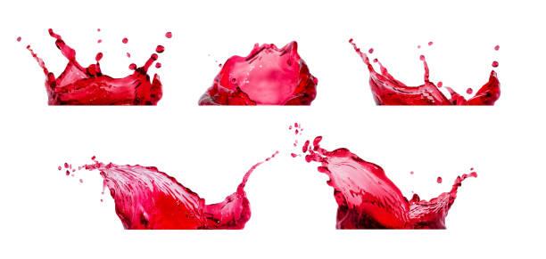 rode spatten collectie - sapjes stockfoto's en -beelden