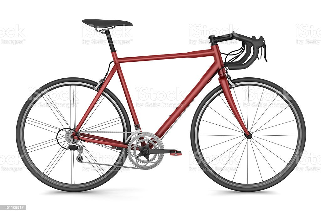 red sport bicycle isolated on white background stock photo