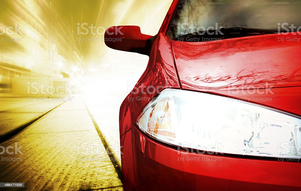 Red Sport Car - Front side stock photo