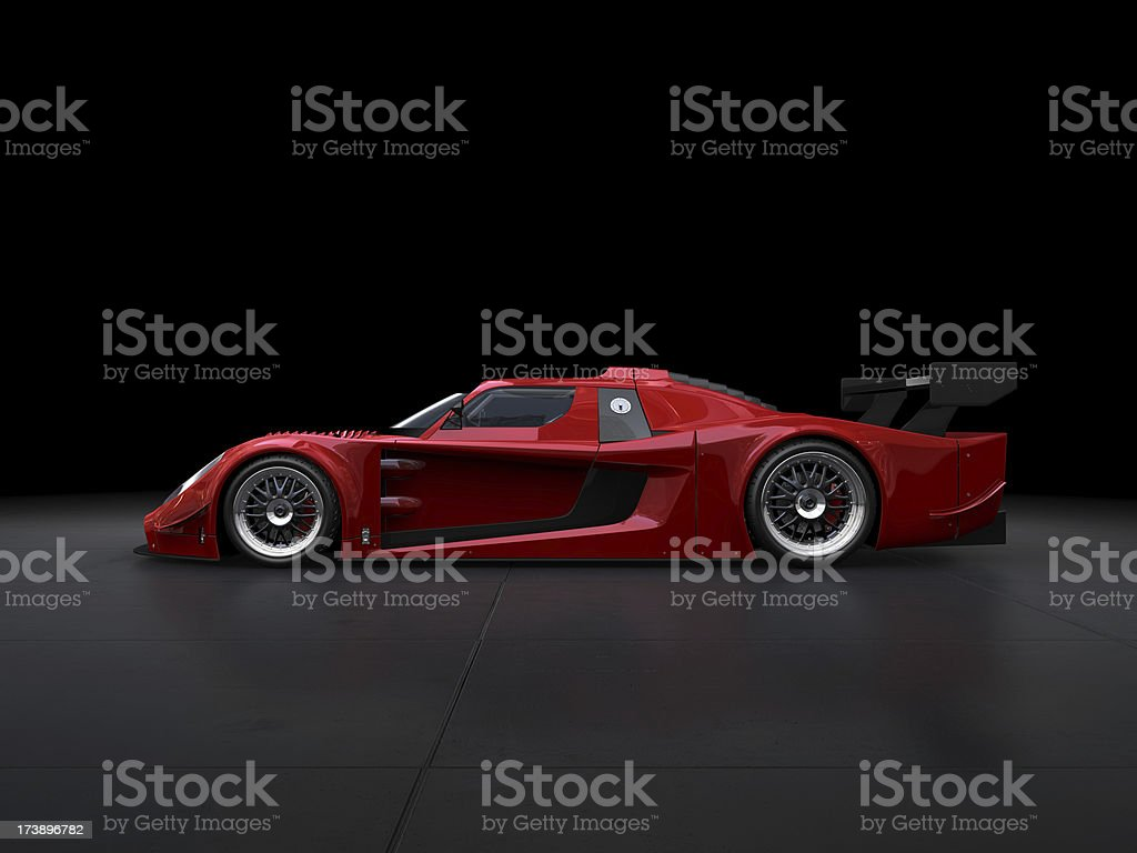 Red sport car on black background stock photo