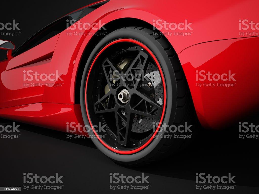 Auto sportiva rosso su nero sfondo studio - foto stock