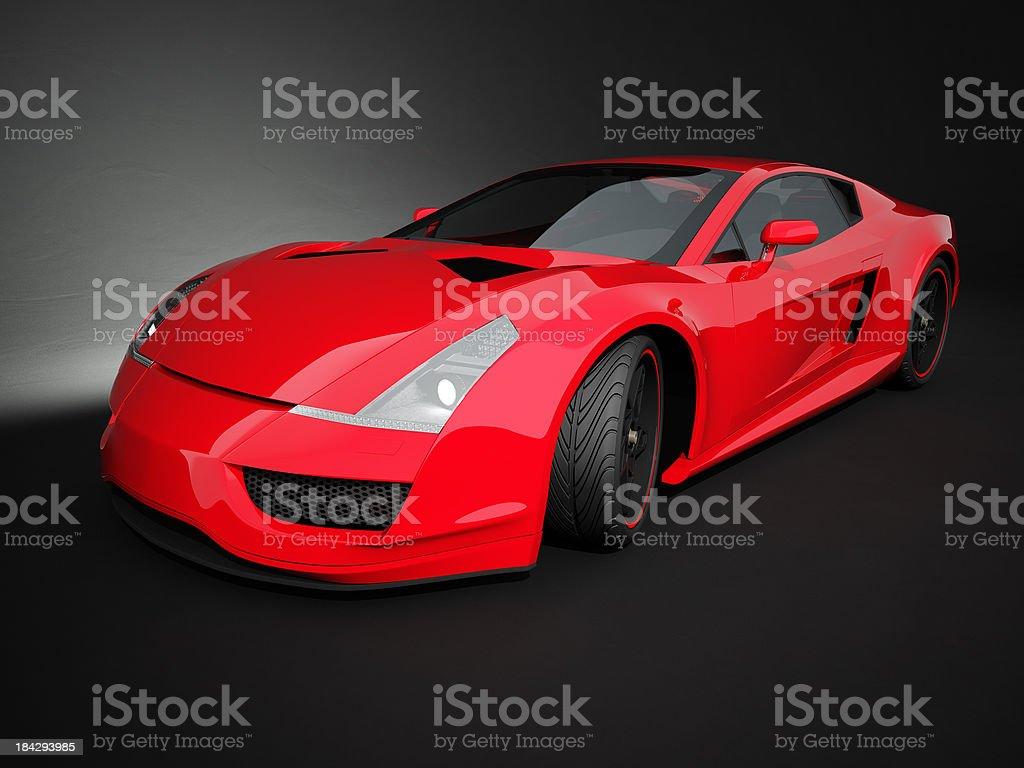 Red sport car on black studio background stock photo