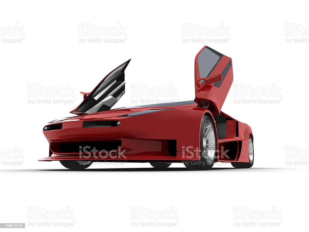 Red sport car on white background royalty-free stock photo