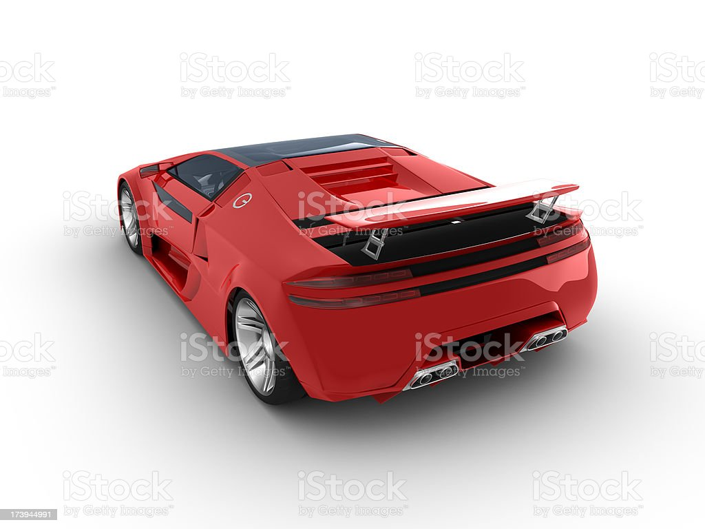 Red sport car on white background stock photo