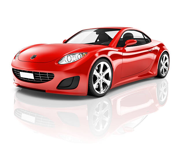 3D Red Sport Car on White Background  luxury car stock pictures, royalty-free photos & images