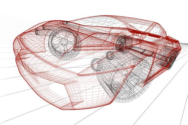 Red sport car wireframe render stock photo