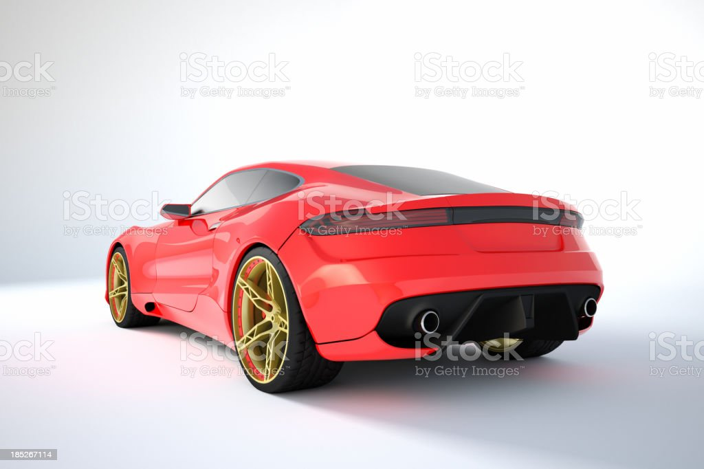 Red Sport Car With Gold And Red Rims On White Background Royalty Free Stock  Photo