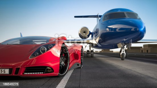 A modern red sports car and a blue jet airplane. Unique and generic sports car and plane designs.  Designed and modelled entirely by myself. Very high resolution 3D render. All markings are ficticious.