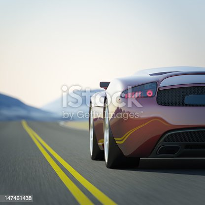 istock Red Sports car in a road through the mountains 147461438