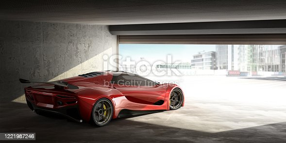 A generic red sports car parked facing the open door of a garage with fully opened metal roller shutters. The car is facing the outside which is overexposed being a very bright, sunny day.