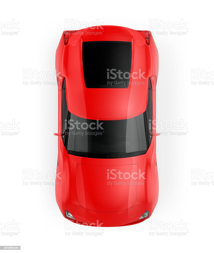 Red sports car isolated on white background. stock photo