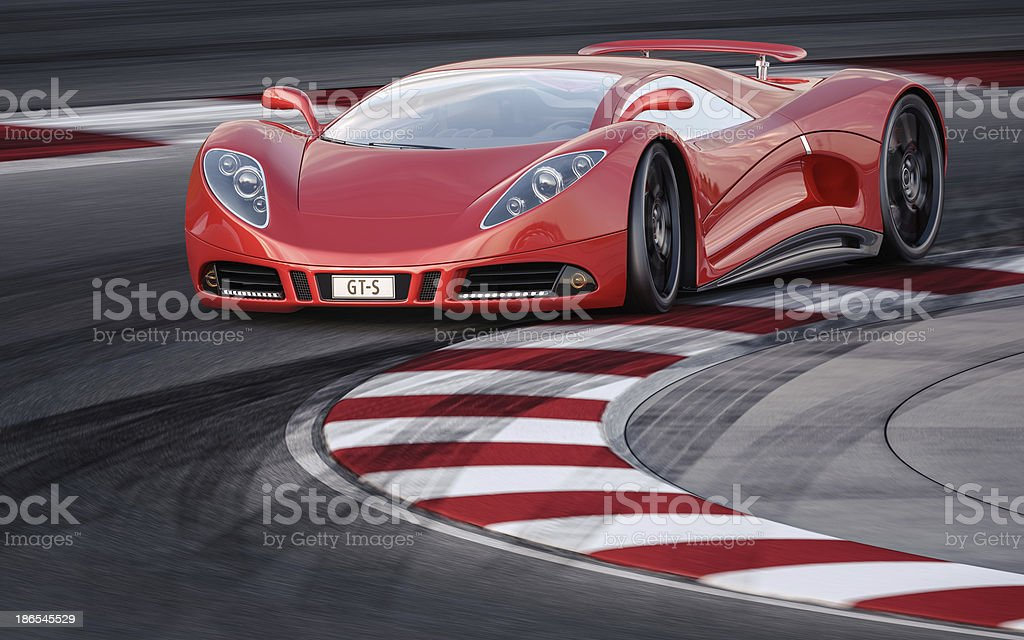 Red Sports Car on a Racetrack royalty-free stock photo
