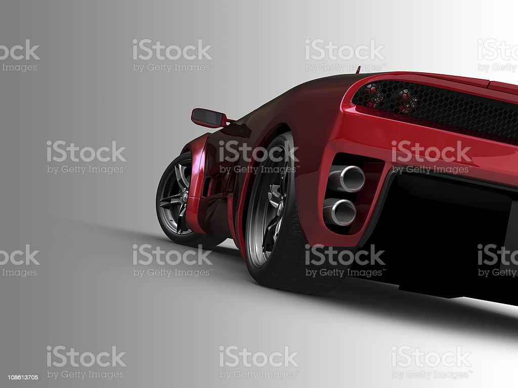 Red sports car on grey background stock photo
