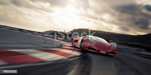 A modern red sports car on a racetrack. Unique and generic sports car design.  Designed and modelled entirely by myself. Very high resolution 3D render. All markings are ficticious.