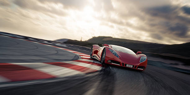 Red sports car on racetrack A modern red sports car on a racetrack. Unique and generic sports car design.  Designed and modelled entirely by myself. Very high resolution 3D render. All markings are ficticious. sports car stock pictures, royalty-free photos & images