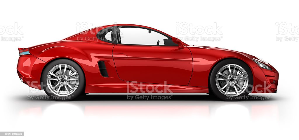 Red sports car on white surface with clipping path royalty-free stock photo