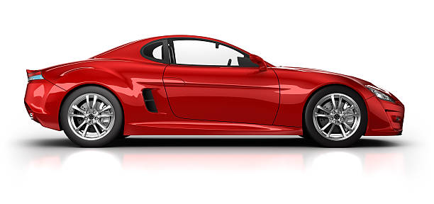 red sports car on white surface with clipping path - side view stock photos and pictures