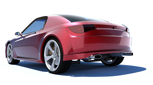 Red sports car The car is my own design. No trademark issues. bumper stock pictures, royalty-free photos & images