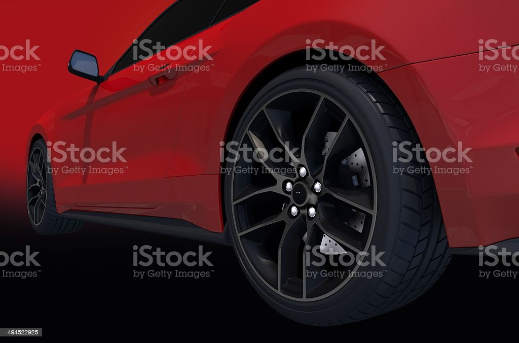 Red Sports Car Side View stock photo