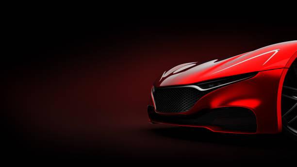 roter Sportwagen Silhouette auf schwarzem Hintergrund – Foto