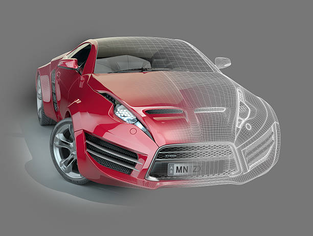 Red sports car with a wireframe stock photo