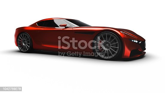 red sportscar studio shot on white background, car of my own design, legal to use.