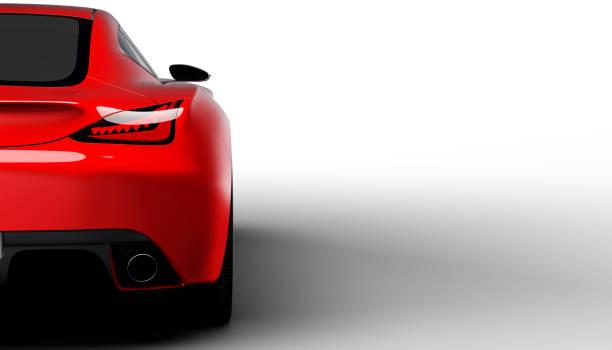 red sportscar studio shot - exhaust white background imagens e fotografias de stock